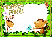 foto of cheeky  - illustration of a Fun Jungle Border with the Cheeky Monkeys enjoying a fun party - JPG