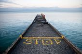 pic of sochi  - Pier perspective with yellow stop - JPG