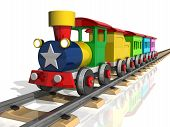 image of train-wheel  - Toy train with multicolored carriages on a white background - JPG