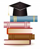 picture of convocation  - Stack of books and graduation hat on white background - JPG