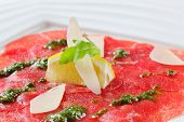 Beef Carpaccio with pesto and Parmesan