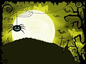 Halloween background with scary spider, full moon, bats, ghosts, crosses and grunge elements.