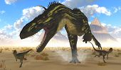 foto of dilophosaurus  - Two Dilophosaurus run for their lives with a gigantic Torvosaurus after them - JPG