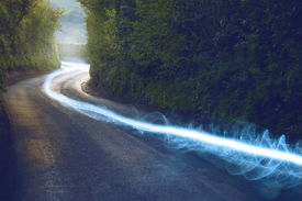 image of british culture  - Fiber optic cable running above ground in the British Countryside - JPG