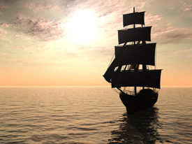image of pirate ship  - An old merchant ship out at sea an early morning - JPG