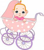 Cute Baby girl sitting in carriage. Raster version.