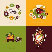 stock photo of tractor  - Icons for organic milk - JPG