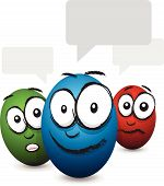 picture of blubber  - a set of three cartoon coloured egg face talking - JPG