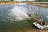 image of aeration  - Aerator  in the shrimp farm for fresh water in Thailand - JPG