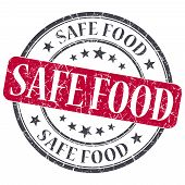 Safe Food Red Grunge Round Stamp On White Background