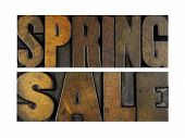 stock photo of yard sale  - The words SPRING SALE written in vintage letterpress type - JPG