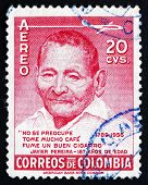 Postage Stamp Colombia 1956 Javier Pereira, Zenu Indian