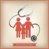 Abstract world heath day concept with healhthy family under setescope on brown background.