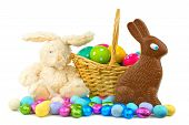 stock photo of easter candy  - Collection of Easter candies, eggs and toys over white
