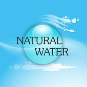 foto of water shortage  - World Water Day concept with stylish text Natural Water and water drop on blue background - JPG