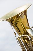 pic of wind instrument  - Detail view of brass wind instrument - golden tuba
