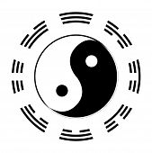 foto of gey  - Yin and Yang in black and white with the symbols of the I CHing around the outside - JPG