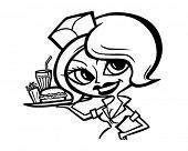 Постер, плакат: Cute Waitress 2 Retro Clipart Illustration
