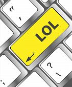stock photo of lol  - keys saying lol on black keyboard - JPG