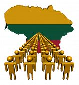 Lines of people with Lithuania map flag illustration