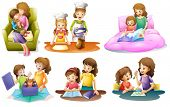 image of child feeding  - Illustration of the different activities of a mother and a child on a white background - JPG