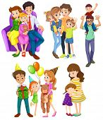 stock photo of brother sister  - Illustration of the different families on a white background - JPG