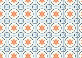 picture of hexagon pattern  - Orange flower dark blue circle and hexagon pattern on pastel color - JPG