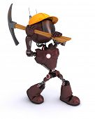3D Render of an android Builder with a pick axe