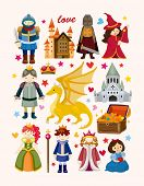 stock photo of woman dragon  - set of fairy tale element icons - JPG