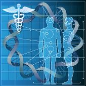 pic of double helix  - Illustration with double helix and human silhouettes as allegory of medical genetic code researches - JPG