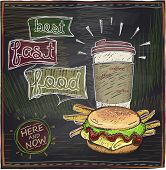 stock photo of hamburger  - Best fast food chalkboard design with hamburger - JPG