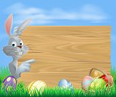 stock photo of white rabbit  - Easter white bunny rabbit pointing at a sign with a basket of chocolate Easter eggs - JPG