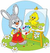 stock photo of cony  - Little rabbit draws a small Easter chick - JPG