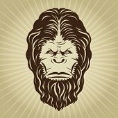 foto of bigfoot  - Retro Bigfoot Yeti Head Illustration - JPG