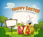 stock photo of bunny rabbit  - Illustration of a cartoon happy easter holidays background in spring or summer season with happy rabbits and bunnies bringing chocolate eggs gifts country landscape and announcement wood sign - JPG