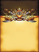 pic of saber  - ornate frame with crown and sabers on the yellow background - JPG