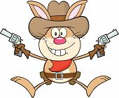 foto of revolver  - Cowboy Rabbit Cartoon Character Holding Up Two Revolvers - JPG