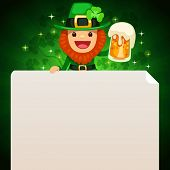 Leprechaun Looking At Blank Poster On Top On Green Background