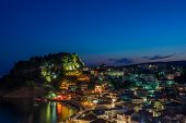 The village of Parga in Epirus Greece at night