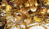 stock photo of swag  - gold jewelry and precious gold jewellery for sale in jewellery in Italy - JPG