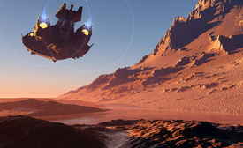 stock photo of spaceships  - Spaceship on the background of the planet - JPG