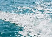 picture of internal combustion  - The waves caused by the passage of inflatable boats with internal combustion engine  - JPG