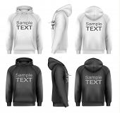 stock photo of hoodie  - Set of black and white male hoodies with sample text space - JPG