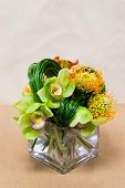 Постер, плакат: Floral Arangement With Calla Lilies Cymbidium Protea And Green