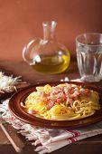 stock photo of carbonara  - italian pasta spaghetti carbonara - JPG