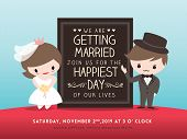 image of kawaii  - wedding invitation board with cute groom and bride cartoon - JPG