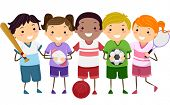 pic of stickman  - Illustration Featuring Kids Holding Different Sports Gear - JPG