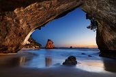 foto of sunrise  - Cathedral Cove at sunrise - JPG