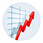 stock photo of oblique  - Upward trending red dimensional zigzag arrow on a business graph showing growth  improvement  success and development viewed at an oblique angle leading away from the viewer  vector illustration - JPG