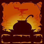 pic of witches cauldron  - Orange Halloween background with witches cauldron illustration - JPG